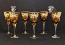 Декоративни кристални чаши за вино 6 бр.
