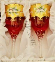 Кристални декоративни чаши за вино 2 бр.