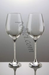 Decorative crystal glasses for white wine
